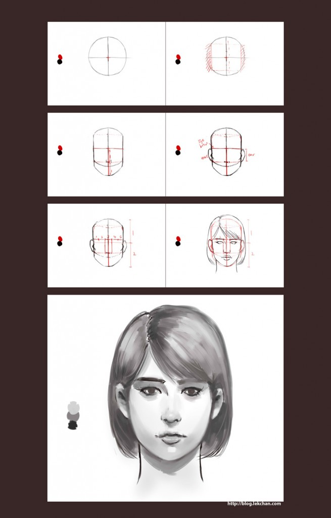 How to draw a face (front view)