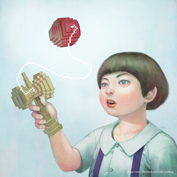Kendama - Digital Painting by Lek Chan