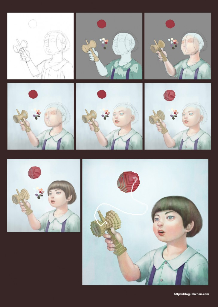 Kendama painting process