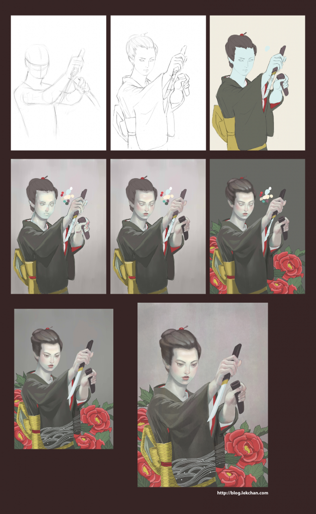 Painting process of Hibotan